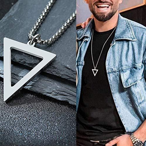 mengnuo Colgante Masculino Cuadrado TRIÁNGULO para Hombre Acero Inoxidable Moderno Moderno APILADO GEOMÉTRICO Collar Streetwear