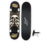 sefulim Skateboard Skull Skateboard for Extreme Sports and Outdoors for Beginners &Pro