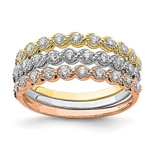 Saris and Things 10k tri Farbe Gold überzogen Satz von DREI stapelbare zirkonia Ring