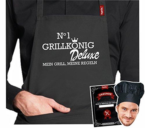Rôtissoire.Tablier Hariz® de barbecue #Grill de la collection premium ; 24 motifs au choix ; noir, tablier avec certificat & toque, cadeau. #Grill14: Grillkönig Deluxe
