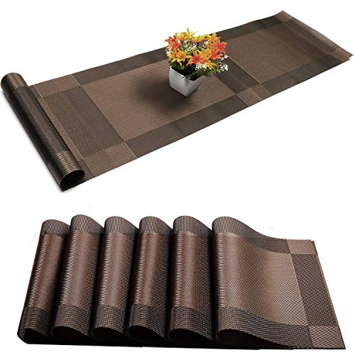 Placemats Set of 6  1 Table Runner Stain Resistant Washable PVC Table Mats Non-Slip Washable Coffee MatsCrossweave Woven Vinyl Heat Resistant Kitchen Tablemats for Dining Table Brown