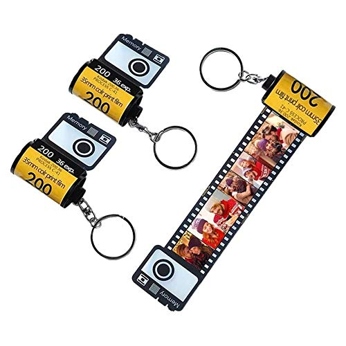 Duroon Regalo Personalizado, Llavero de Película de Cámara, Llavero con Etiqueta de Foto, San Valentín,día de la Madre,Cumpleaños,Regalo Ella,Regalos para él