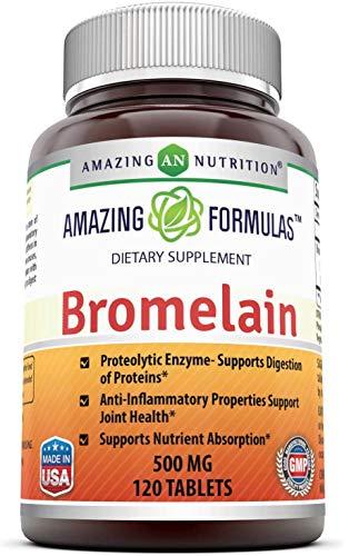 Bromelian de Amazing Nutrition   Suplemento   Enzimas Digestivas Proteolíticas de Bromelina   Sin OMG, Sin Gluten   500 mg   120 Pastillas