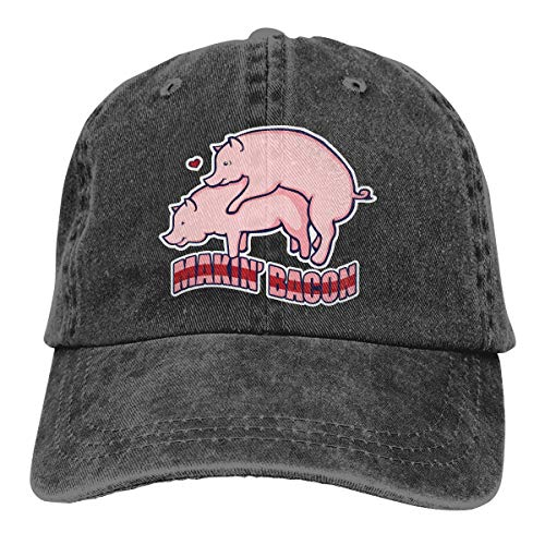 Q64 Makin' Bacon Unisex Cotton Denim Baseball Hats Washed Adjustable Sports Golf Cap for Mens Womens Black