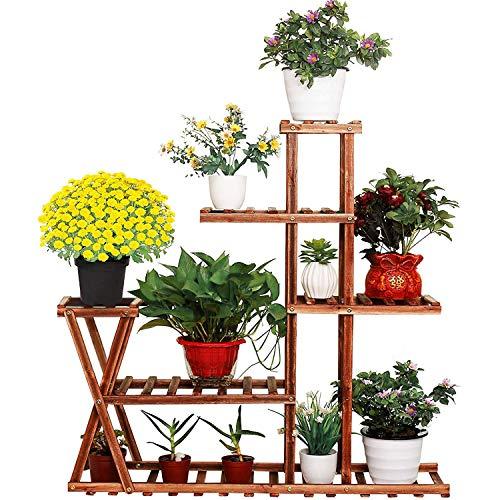 Wooden Plant Stand Shelf, 5 Tier Multi-Shelvings Flower Pot Holder Plant Shelf Display Storage Rack Shelving Unit for Plants Displaying Living Room Patio Garden Balcony Outdoor Indoor Corner