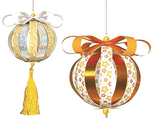 Golden Lutz® Bastelset Weihnachtsschmuck selber basteln, Papier-Kugeln Ø7cm, 298-teilig (Gold Silber weiß - Set 2) | CRELANDO