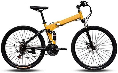 Bicicleta de montaña fácil de transportar, cuadro alto de acero al carbono, 24 pulgadas, velocidad variable de 24 pulgadas, doble absorción de golpes, bicicleta plegable -A_21, velocidad -EIN_27