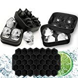 VOKUA 3D Skull Ice Cube Molds Trays, Sphere Ice Ball Maker and Silicone Ice Cube Tray with Lid, Reusable, BPA Free for Whiskey Ice and Chocolate Ball, Bonus 1 Funnel and 1 Stainless Steel Ice Clamp