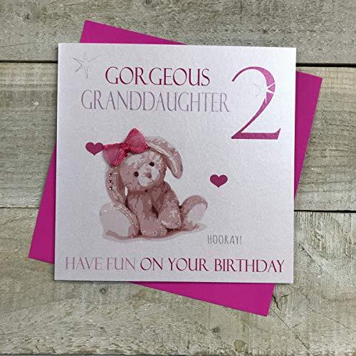 Wit Katoen Kaarten Prachtige kleindochter 2, Handgemaakte Leeftijd 2 Verjaardagskaart (Pink, Konijn)
