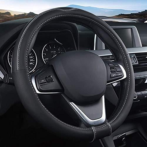 LT Diámetro de la cubierta del volante del automóvil antideslizante 36-42 cm / 14.2-16.5 pulgadas Funda de cuero universal de cuatro estaciones for camiones, vehículos todoterreno, automóviles,