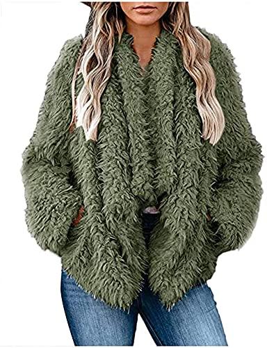 DSKEFE Abrigo de piel sintética de invierno cálido frente abierto cárdigan suelto color sólido manga larga felpa chaqueta corta con bolsillo