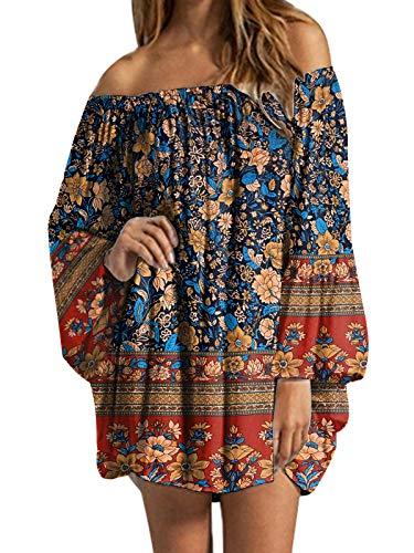 ZANZEA Donna Vestito Largo Corto Casual Senza Spalline Manica Lunga Camicetta Lunga Sexy Elegante Blusa Elegante Maglietta 07-ruggine XL