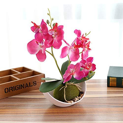 Sanqing Artificial orquídea Bonsai Falso Flores con florero en Maceta