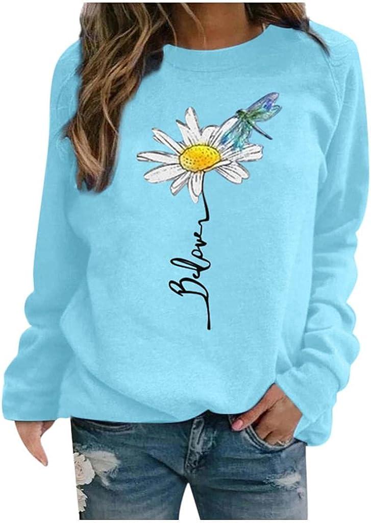 ONHUON Womens Long Sleeve Tops,Women Sweatshirt Pullover Crewneck Trendy Flower Dragonfly Fashine Graphic Casual Shirts