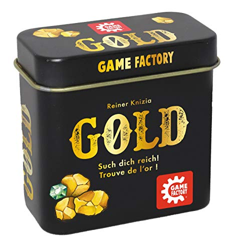 Game Factory 646252 Gold, Mini-Kartenspiel in handlicher Metalldose