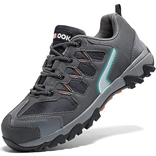 Zapatos de Seguridad para Hombre con Puntera de Acero Zapatillas de Seguridad Trabajo, Calzado de Industrial y Deportiva(A Gris,44 EU)