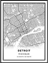 Squareious Detroit map Poster Print | Modern Black and White Wall Art | Scandinavian Home Decor | Michigan City Prints Artwork | Fine Art Posters 9x11