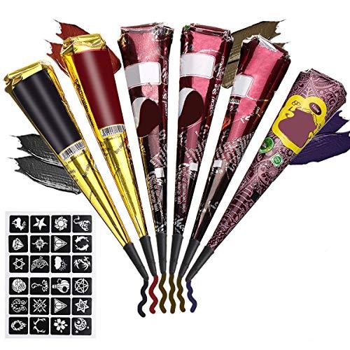 Skymore 6 Stück Tattoo Cones mit 24 Schablone, Tattoo Kegel, Körperkunst mit 1 Flasche, 3 Kunststoffdüse