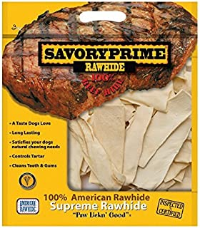 Savory Prime 100% American Beef Rawhide Chips, All-Natural Treat W/ No Preservatives, Chemicals, Or Additives, Satisfy The Urge To Chew & Promote Dental Health, 2Lb Resealable Bag (Natural Flavor)