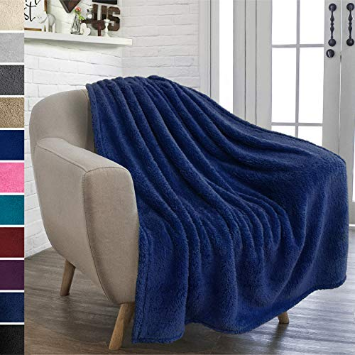 PAVILIA Plush Sherpa Throw Blanket for Couch Sofa | Fluffy Microfiber Fleece Throw | Soft Fuzzy Cozy Shaggy Lightweight | Solid Navy Blue Blanket | 50 x 60 Inches