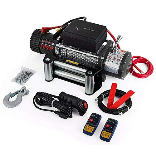 LiChenY 12V Verricello Elettrico 6120 kg 13500LBS Corda Sintetica con Telecomando Rotore Sintetico Rullo Arganiche per UTV ATV Jeep Truck E Wrangler (Size : B)
