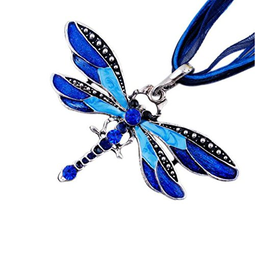AKOAK Fashion Creative Bohemian Jewelry Ethnic Multi-layer Chain Colorful Enamel Dragonfly Pendant Necklace?Blue?