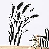 KLEBEHELD Wandtattoo Pampasgras mit Vögel   RECHTS   Größe 57x80cm, Farbe schwarz