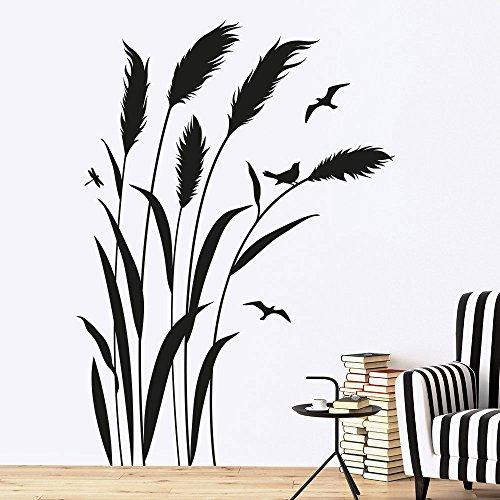 KLEBEHELD® Wandtattoo Pampasgras mit Vögel | RECHTS | Größe 57x80cm, Farbe lehmbraun