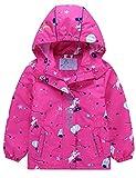 Echinodon Mädchen Gefütterte Outdoorjacke Wanderjacke wasserabweisend Winddicht Kinder Jacke Regenjacke Übergangsjacke Funktionsjacke Rosa 134-140