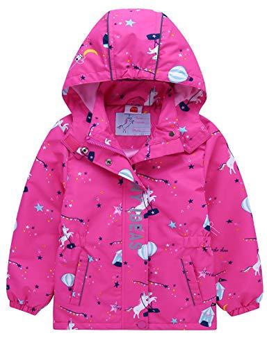 Echinodon Mädchen Gefütterte Outdoorjacke Wanderjacke wasserabweisend Winddicht Kinder Jacke Regenjacke Übergangsjacke Funktionsjacke Rosa 146-152