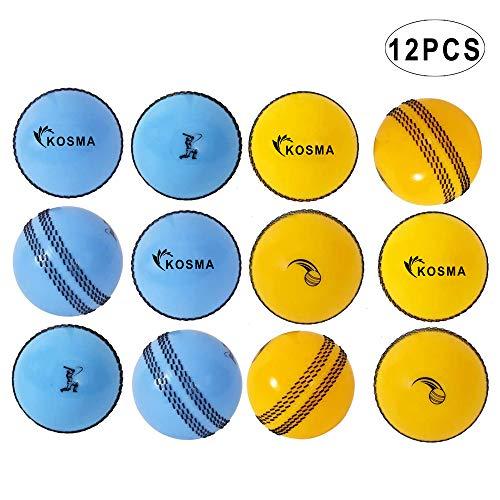 Kosma Windball-Cricketbälle, weiche Trainingsbälle, Indoor-Trainingsfähigkeit, Coaching-Bälle – 6 gelb mit schwarzer Naht, 6 Stück blau mit schwarzer Naht