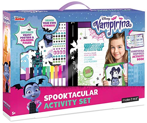 Make It Real - Disney Vampirina Spooktacular Activity Set. Coloring Book and Sticker Craft Book Set for Girls. Includes Velvet Posters, Markers, and Fun Stickers Inspired by Disney