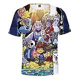 MULIZHE Undertale Impresión en Color 3D Camiseta de Manga Corta Dibujos Animados Pareja Fiesta Deportiva Transpirable Vacaciones niño niña Regal -XXXL