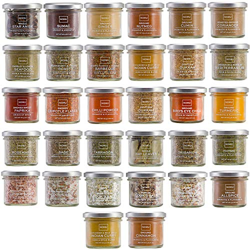 NOMU Cooks Collection Variety Set of 32 Herbs, Spices, Chilis, Salts and Seasoning Blends   Premium Gourmet Quality Range