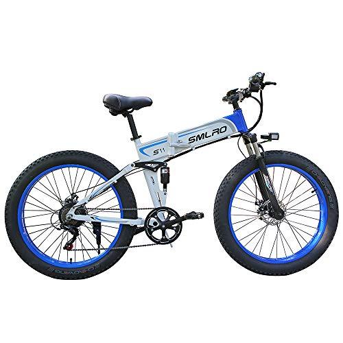 WMING Folding elektrisches Fahrrad VTT, 48V 10Ah 350W Motor / 26-Zoll-Rad intelligentes LCD EIN-Tasten-Automatikschalter,White Blue