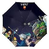 Paraguas plegable de Anime Howl's Moving Castle My Neighbor Totoro, paraguas plegable a prueba de viento de dibujos animados (color : estilo 1)