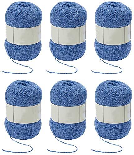 Ovillo de lana para tejer y ganchillo mezclado 3 capas suave conjunto violeta azulado violeta paquete de 6 bolas