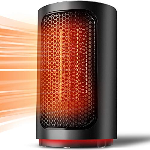 Toyuugo Heizlüfter energiesparend Keramik 500W Heizstrahler 2S Schnellheizter mit Überhitzungsschutz und Umkippsschutz Wärmestrahler für Haus, Schlafzimmer, Büro-Schwarz