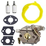 NIMTEK New Carburetor with Fuel Line Fuel Filter Gasket for Tecumseh 640347 640347A TM049XA TC200 TC300 2-Cycle Vertical Engine Strikemaster Jiffy Ice Auger