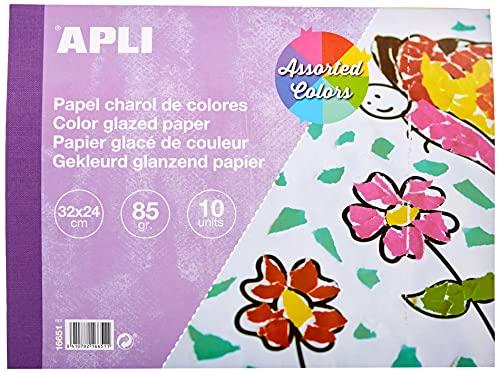 APLI 16651 - Bloc papel charol surtido 32 x 24 cm 10 hojas
