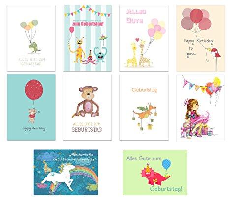 the lazy panda card company 40er Set: Geburtstagskarten Glückwunschkarte Kinder Kindergeburtstag Klappkarten mit 40 Umschlägen
