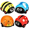 LiKee Animals Pull Back Cars Friction Powered Vehicle Play Set Push and Go Back and Forth Car Toys Party Gifts Stocking Fillers for Toddlers Kids Boys Girls Age 3+ Years Old (4 Packs) by LiKee