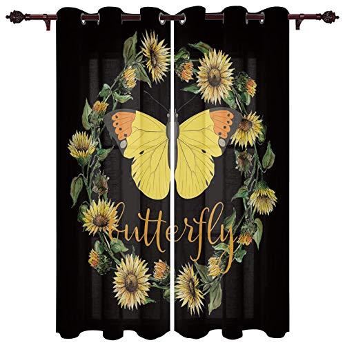 "USOPHIA Grommet Semi Sheer Window Treatment,Sunflower Garland Butterfly Black Background Living Room Bedroom Window Drapes 2 Panel Set, 52"" x 63"""