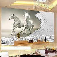 HGFHGD 3D壁画壁紙3Dホワイトホースレンガ壁アート壁画リビングルーム寝室の背景ウォールステッカーウォールアート