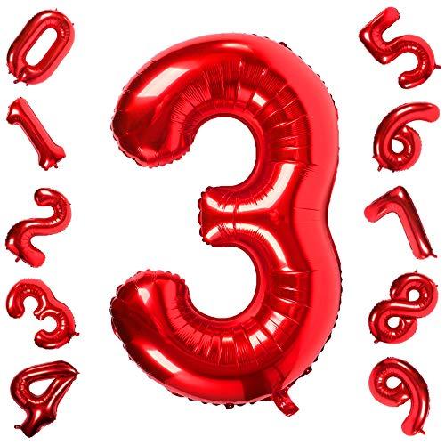 40 inch groot rood getal 0-9 ballonnen, folie helium digitale ballonnen voor verjaardag verjaardag feest festival decoraties red three