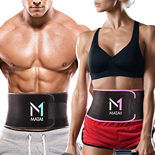 Mata1 Waist Trimmer Belt (X-Large, Black) with a Free Bag Included, Thin Body Sweat Wrap, Weight Loss Enhancing Belt for Men and for Women, Excellent Back Support Promoting Posture Improvement