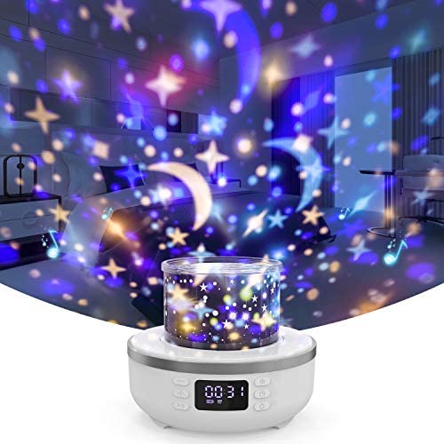 Star Projector Night Light Bluetooth Speaker for Kids Table Lamp with Alarm Clock FM Radio 360 product image