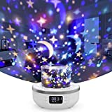 Star Projector Night Light Bluetooth Speaker for Kids, Table Lamp with Alarm Clock FM Radio 360 Degree Rotation and Projector 6 Films, Dimmable Warm Light & 7 Colors Best Gift for Girl Boy