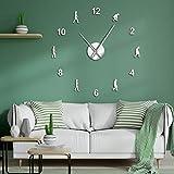 Reloj de Pared Gigante de Arte de Pared DIY, Reloj de Pared con Aguja Gigante sin Marco para decoración del hogar, evolución de los Hombres, Regalo de la Ciencia
