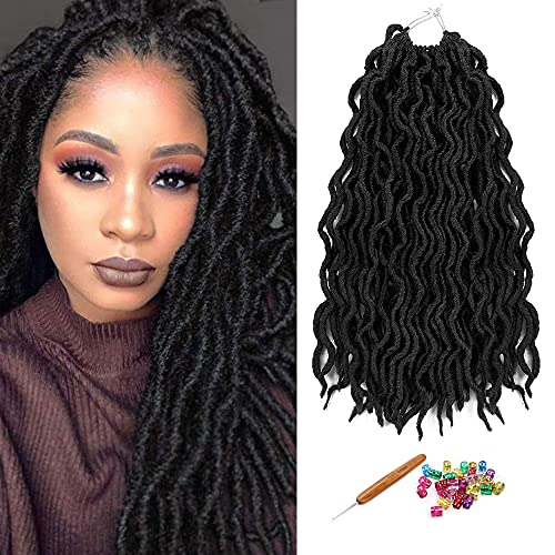 "NueiVeiuo 18"" 1PCS Gypsy Locs Crochet Tresses Faux Locs Crochet Twist Cheveux Cheveux Extensions Tresses 24Strands/PCS(18inch 1PCS Black)"